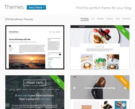 WordPress dot com - Themes