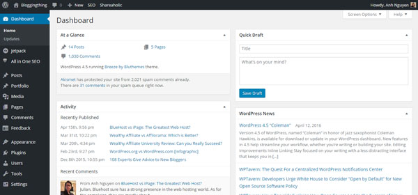 Install WordPress to BlueHost - WordPress Dashboard