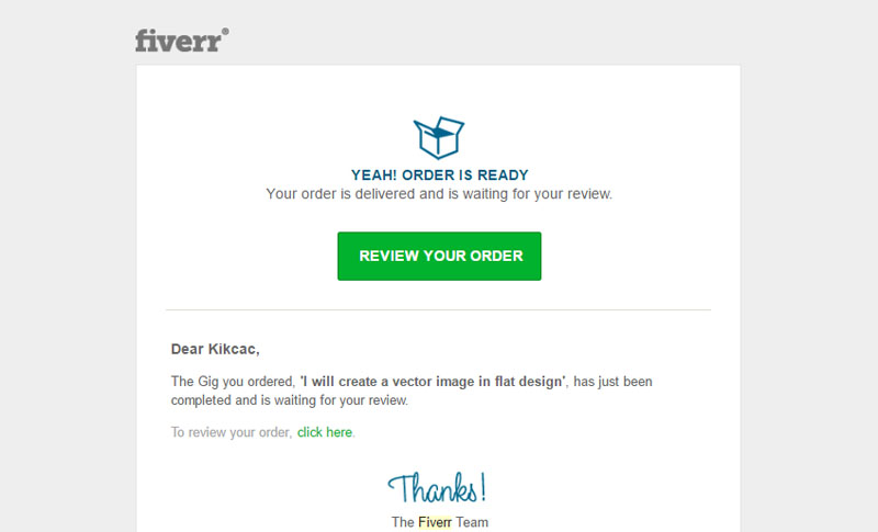 Fiverr - Completed Order Email