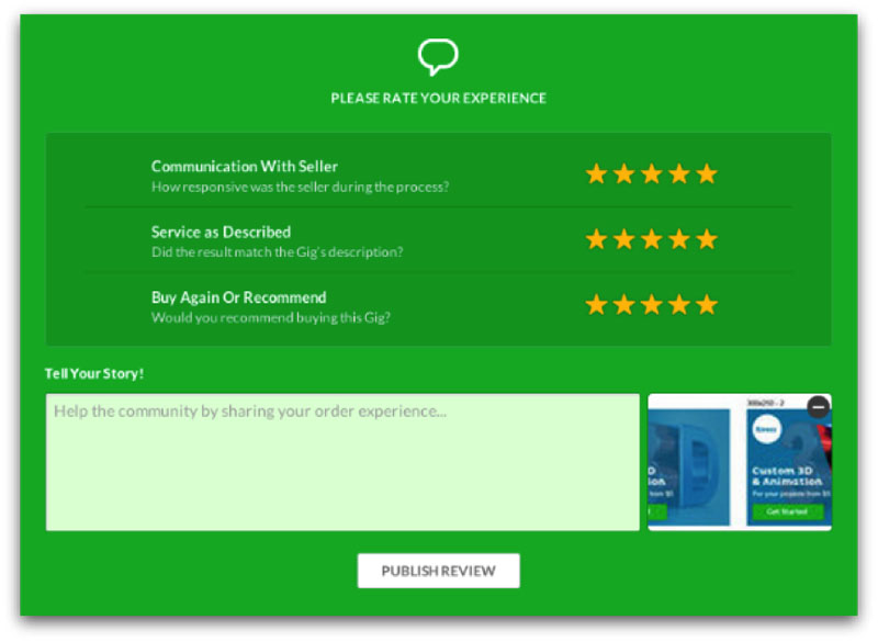 Fiverr - Rate the Seller