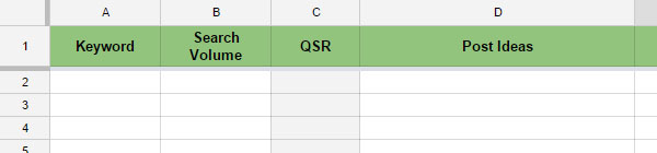 Excel Sheets - Keyword Research