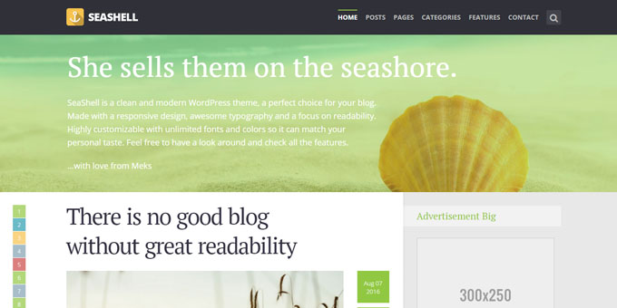 SeaShell - Cheap WordPress Magazine Themes