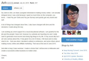 Affiliate Marketing Course - Anh Nguyen Profile Wealthy Affiliate
