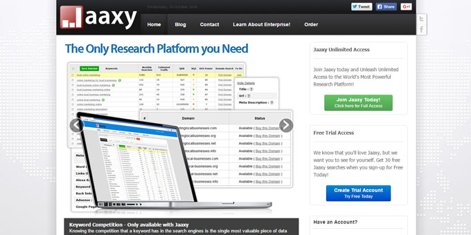 Jaaxy - Best Keyword Research Tools 2017