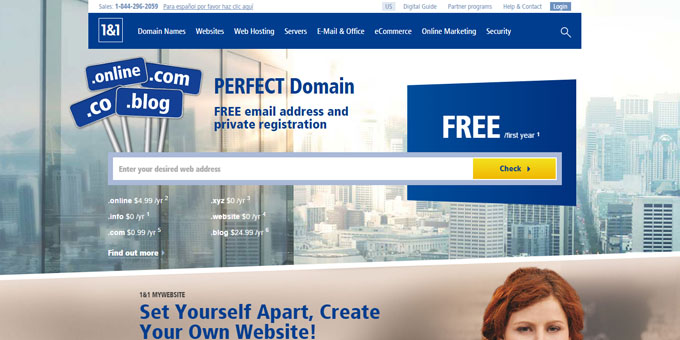 1and1 - Best Domain Name Registrars 2018