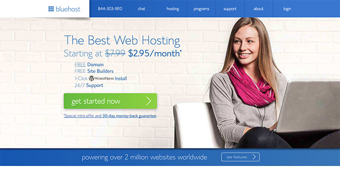 BlueHost Website - Best Domain Name Registrars 2018