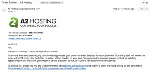 Order Review Email - Monthly Web Hosting