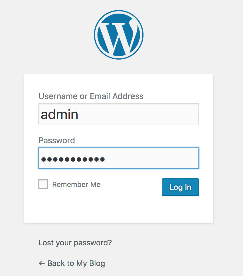 WordPress Login - Monthly Web Hosting